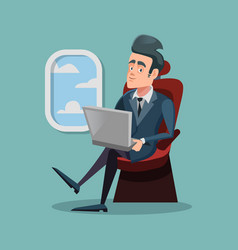 Cartoon successful businessman flying in airplane vector