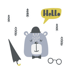 childish poster with cute bear in a hat vector image