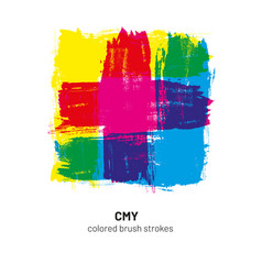 Cmy colored brush strokes vector