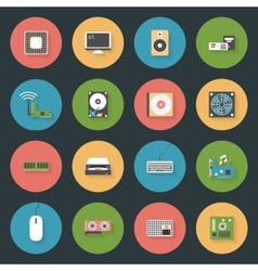 Computer peripherals and parts flat icons set vector