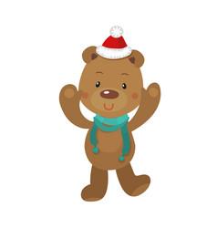 cute christmas bear on white vector image
