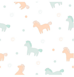 Cute horses print vector