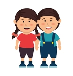 cute kids couple icon vector image