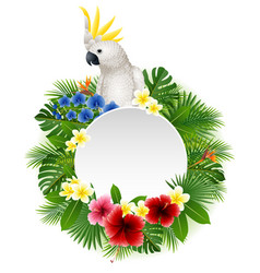 Cute parrot with blank sign on plant background vector