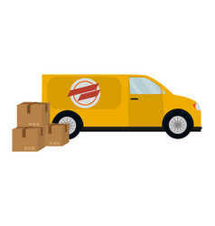 Delivery van with boxes vector