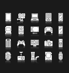 device white silhouette icons set vector image