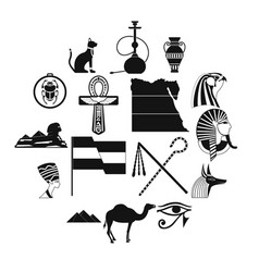 egypt icons black vector image
