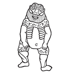 Egyptian god bes vintage vector