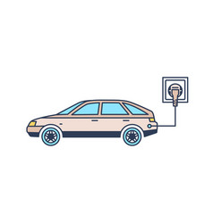 electric car with plug charging at recharging vector image