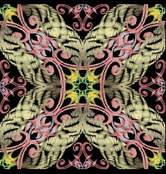 embroidery baroque seamless pattern vector image