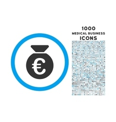 Euro Money Bag Rounded Icon with 1000 Bonus Icons vector image