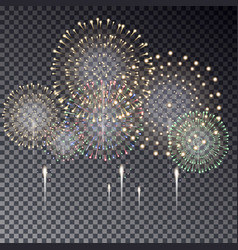 festive transparent firework bursting in various s vector image