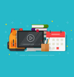 flat cartoon online web courses or video study vector image