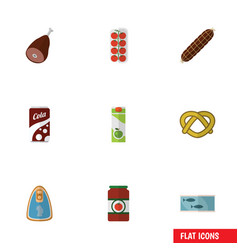 Flat icon meal set of tomato tin tuna smoked vector