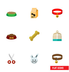 Flat icon pets set of rabbit meal nutrition box vector