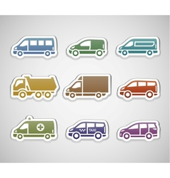 Flat retro color stickers - set five vector