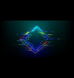Futuristic glitch rhombus in cyberpunk style vector