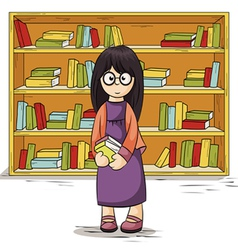 Girl with books in their hands vector