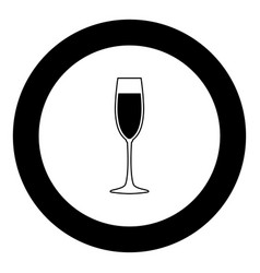 glass of champagne icon black color in circle vector image