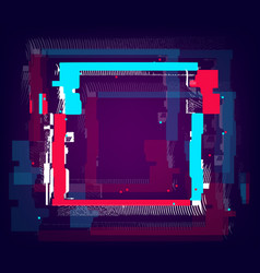 Glitch empty square frame distorted rectangle vector