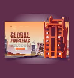 Global problems cartoon web banner save planet vector