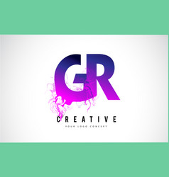 Gr g r purple letter logo design with liquid vector