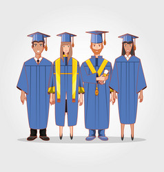 graduate students avatars characters vector image