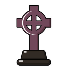 Grave cross icon cartoon style vector