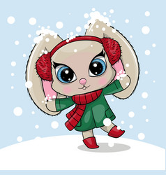 greeting card cute cartoon rabbit with a snow on vector image