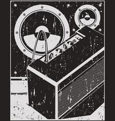 Guitar amplifier and speakers retro poster vector