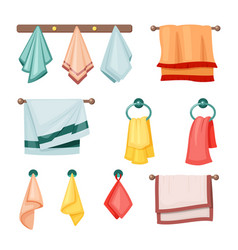 hanging towels set colored textile fabric vector image