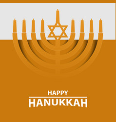 Hanukkah menorah on light yellow background happy vector
