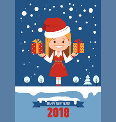 happy new year 2018 card santa clause girl vector image