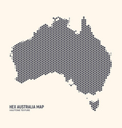 Hexagonal halftone design australia map vector
