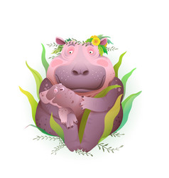 hippopotamus mother holding her child bahippo vector image