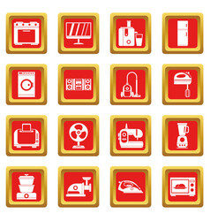 Household appliances icons set red vector