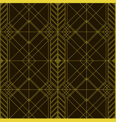 linear geometric art deko ornament gold on a black vector image