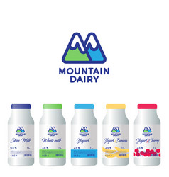 M letter mountains dairy products packaging vector