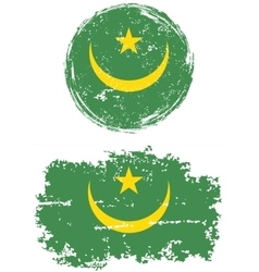 Mauritanian round and square grunge flags vector