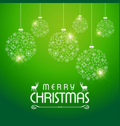 merry christmas greetings design with green vector image