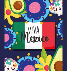 mexican independence day catrinas flowers avocado vector image
