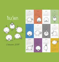 Morning yoga sheeps calendar 2019 design vector