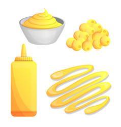 Mustard icon set cartoon style vector