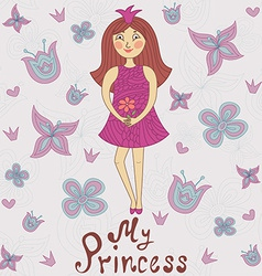 My princess Cute romantic shower card vector image