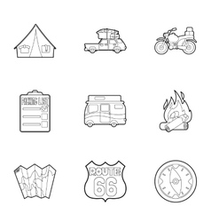 Nature trip icons set outline style vector image