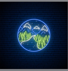 neon mountain sign bright glowing mountain vector image