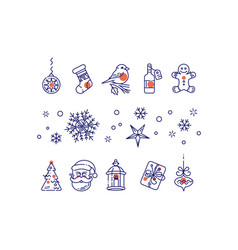 new year line icons set vector image