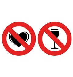 No allowed love and alcohol marks vector