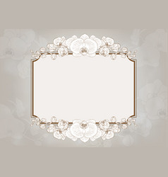 Orchid flowers frame vector