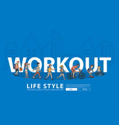 people workout life style idea concept with flat vector image